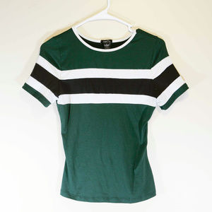 Rue 21 Green Blue White Stripe Fitted Womens Short